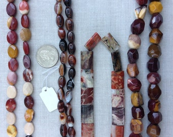 Bead Destash, Bulk, Strands, Mookaite, Red Saradonyx, Jasper, Faceted, Oval, Nugget