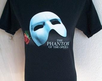 Vintage 1986 Phantom of the Opera Mask Rose Broadway Musical Boho Goth T Shirt Sz S