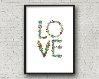 LOVE Floral Alphabet Printable, DIY Wall Art, Cards, Crafts, Easy to download and print.