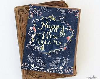 Starry Happy New Year Greeting Card - Happy New Year Card, Paper goods, Stationery, Stars