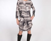 Jersey Print Dress with Center Front and Center Back Seam and Exaggerated Fulness with Elbow or Long Sleeve