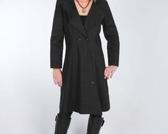 Black Army Inspired Double Breasted Coat Dress made from Black Wax Coated Linen and Black Lining