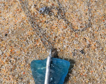Deep Turquoise Sea Glass Arrowhead Necklace on a Sterling Silver Chain