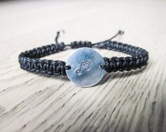 Music Charm Bracelet, Music Note Bracelet, Hemp Bracelet, Custom Bracelet, Gift for Her, Music Lover Gift, Music Bracelet
