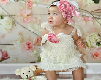 Ivory Pettidress- Girl 1st Valentine's dress- Girl 1st Easter dress- Baby Pettidress- Petti Dress- Baby Lace Dress- Baby Easter tutu