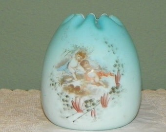 Antique Cased Mt Washington Rose Bowl  Vaseline Glass Victorian Hand Painted cherubs angels angelic