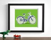 Bicycle art - childrens wall art - Vintage bike drawing - pick your colors - retro bike nursery art prints