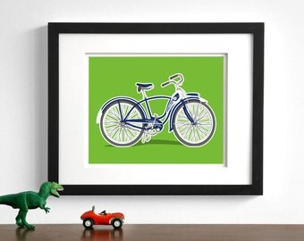Bicycle art - childrens wall art - Vintage bike drawing - pick your colors - retro bike nursery art prints