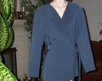 Womens Blazer Size 14 Jacket by Kasper Long Sleeve Belted Wrap Style Blue SALE