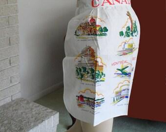Apron Canada Souvenir Landmarks Half Apron White Yellow Green Never Worn Vintage Apron
