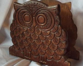 Wooden Owl Napkin Holder Letter Keeper