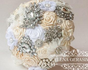 Brooch Bouquet. Ivory white silver Fabric Bouquet, Unique Wedding Bridal Bouquet
