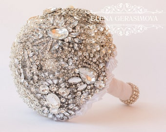 Diamante Brooch Bouquet, crystal bling silver bouquet, Bridal Bouquet, Wedding Bouquet