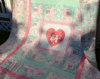 Cottage Style HANDMADE QUILT Large Twin Small Double Pinks Greens Shabby Country Sweet Sixteen Little Girl Tween bedding College Heart Quilt