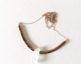 NEW Crystal Point Necklace : Clear Quartz and Hematite on Rose Gold-filled Necklace, gifts for her