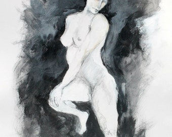 """Loose Nude Figure Drawing, Gray, White, Modern, Pencil, Acrylic Paint, """"Woman Seated in Shadows"""""""