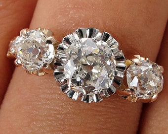 Antique GIA 2.16ct Old Mind Cushion Cut Diamond Victorian 3 Stone Engagement Wedding ring