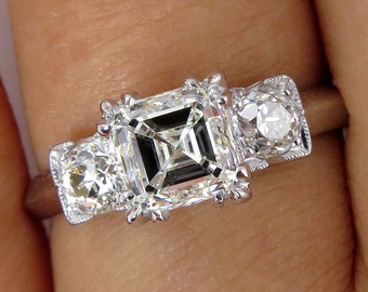 Art Deco GIA 1.54ct Antique Vintage Asscher, Square Emerald  Cut Diamond Engagement PLATINUM Trilogy Ring, Circa1920