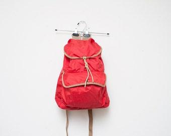Red Nylon Stuff Sack Backpack