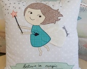 """Custom embroidered decorative pillow cover """"believe in magic"""", nursery decor, gift for girls, Kids decor, Special occasion, made to order"""
