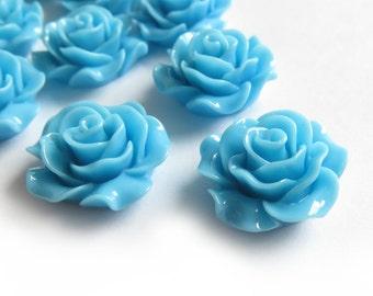4 Pcs - 20mm Sky Blue Rose Cabochons