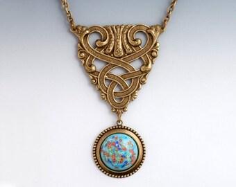 Aqua Glass Necklace, Celtic Necklace, Celtic Knot Pendant Necklace, Celtic Jewelry, Celtic Knot Necklace, Millefiori Glass Jewelry, Eneh
