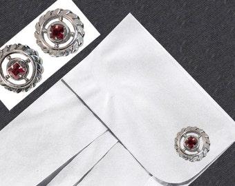 Red Cufflinks by Fenwick & Sailors, Emerald Cut Rhinestones, Wheel, Spoke, Silver Metal, Rope Edge, Father's Day Gifts