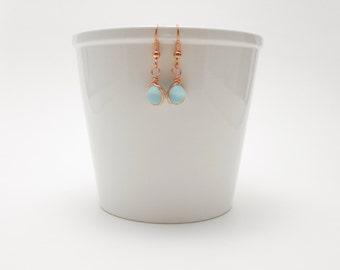 Light Blue Earrings, Copper Wrapped Earrings, Baby Blue Matte Glass Earrings, Petite, Dainty
