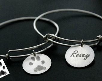 YOUR Pets Dog Cat Pet Paw Hand Print Fingerprint Handwriting Sterling Silver Personalized Memorial Expandable Bangle Charm Pendant Bracelet