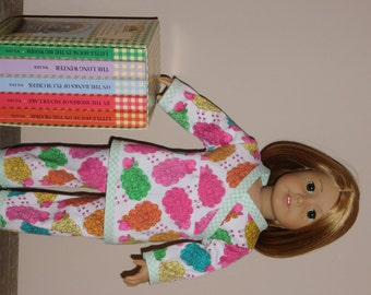 Handmade Doll Clothes fits/for 18 inch American Girl Doll ~ Counting Sheep 2-piece PJ's Pajamas Set ~ Pink, Green, Yellow, Orange & Blue