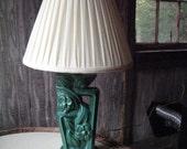 Emerald Green Ceramic Art Deco Lamp with Shade