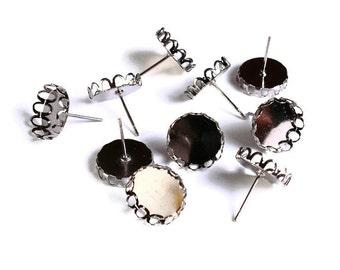10 pc (5 pairs) 12mm earstud gunmetal findings - Lace edge earring blank setting in black - nickel free (1532)
