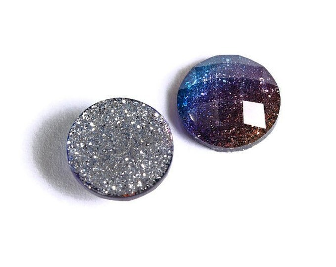 12mm Blue purple gold glitter cabochon - sparkly cabochons - Galaxy glitter - 12mm Kawaii cabochon (1536) - Flat rate shipping