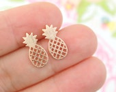 Rose Gold Tiny Pineapple Earrings, Small Pineapple Studs Earrings, Pineapple Post Earrings, Gift for Best Friends