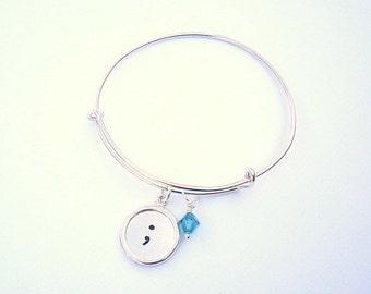 Sterling Silver Adjustable Bangle Charm Bracelet - Personalized Bracelet - Semicolon - Stacking - Custom - Sterling Silver  - Adjustable