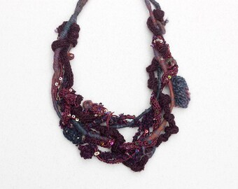 Sequins bib necklace, knitted and hand wrapped fiber jewelry, burgundy purple blue, OOAK