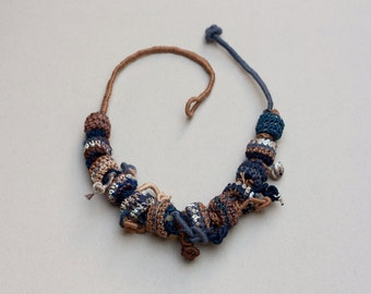 Fiber statement necklace in brown and blue Rustic jewelry with crochet and bamboo beads, OOAK