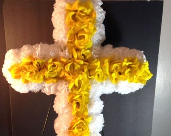 Gravesite Silk Flower Cross, Cemetery Flowers, Yellow and White Memorial Flowers, Funeral Flowers, Artificial Flowers
