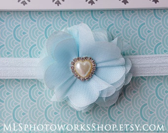 Baby Blue Sweetheart Headband for Newborns, Toddlers, Girls - Soft Light Blue Chiffon Flower Hairbow with Heart Charm