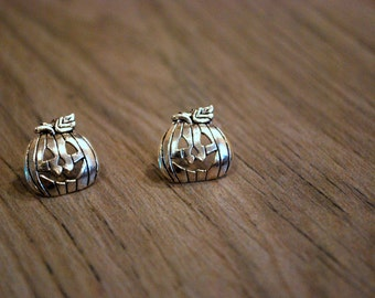 Pumpkin Earrings -- Pumpkin Studs, Silver Pumpkin Earrings, Halloween Earrings
