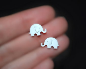 Tiny Elephant Studs -- Elephant Earrings, Handmade Studs, Lucky Elephant Earrings