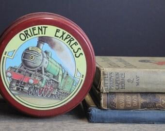 Vintage Advertising Tin Orient Express Train Souvenir Tin // 1981 Italian Tin