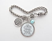 NIECE Charm Bracelet with Braver stronger Smarter Inspirational Quote, Niece Bracelet, encouragement, step daughter jewelry, Cousin gift