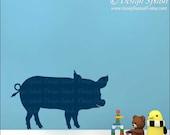 Pig Vinyl Wall Decal, Farm Animal Sticker, A-118