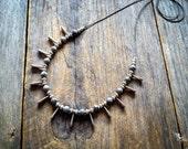 Bohemian stone fan necklace egyptian tribal boho chic jewelry by Creations Mariposa READY TO SHIP