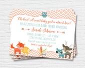 Woodland Baby Shower Invitation - 5x7 - Boy - Girl - Card -  Digital Printable File - Cardstock