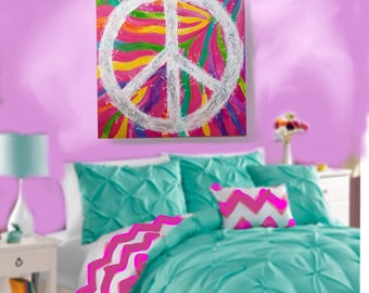 REDUCED Colorful Peace Sign Painting for Girls Room, Rainbow Art, PInk Zebra 36 x 36