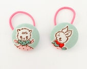 Miss Kitty and bunny vintage style fabric covered button hair bobbles for ponytails or pigtails