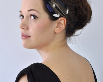 Chic Mini Feather Fascinator in Greys and Blues Hair clip