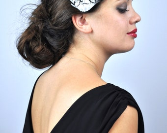 Black Feather Fascinator Hair Clip with Monochrome Scalloped Feathers